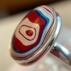 Fordite Sterling silver ring